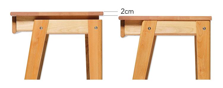 天板は70、72cmと高さを2段階に調整できます。